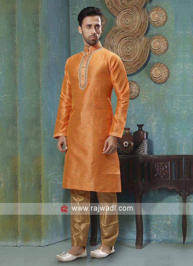 Graceful Orange And Golden Kurta Pajama