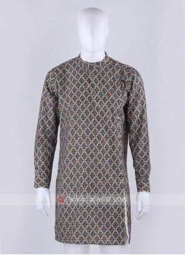 Graceful printed brown kurta