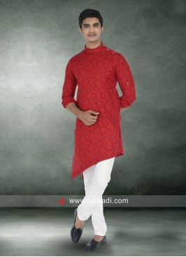 Graceful Red Pathani Suit