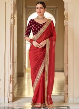 Graceful Red Sequins Classic Saree