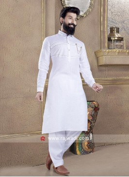 Graceful White Color Pathani Suit