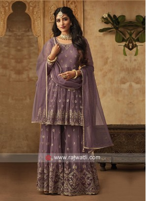 Graceful Wine Gharara Suit