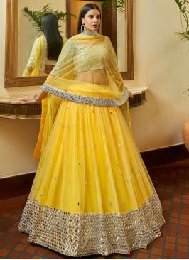 Grandiose Yellow A Line Lehenga Choli