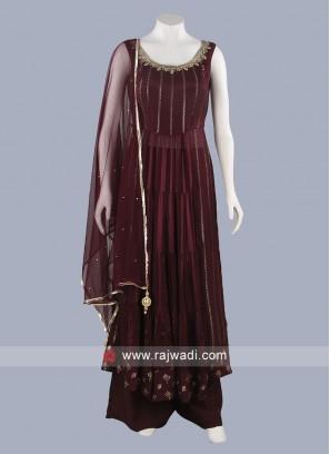 Sequins Work Palazzo Suit in Magenta