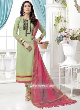 Sea Green Salwar Suit with Peach Dupatta