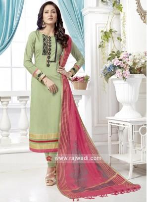 Sea Green Salwar Suit with Peach Dupatta