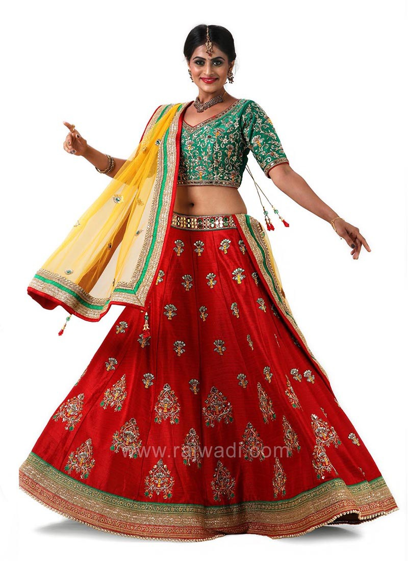 Red and Bottle Green Bridal Choli Suit