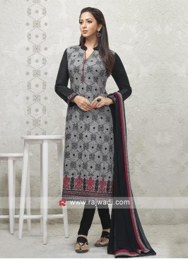 Grey and black Salwar suit with dupatta