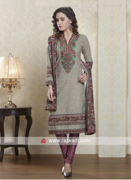Gray and onion pink salwar suit