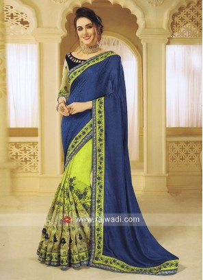 Green and Blue Designer Half n Half Saree