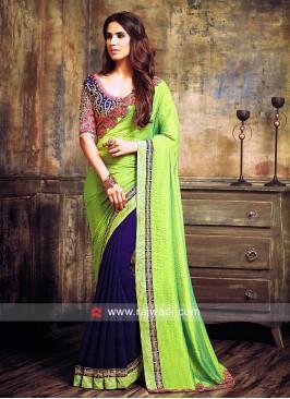 Green and Blue Half N Half Saree