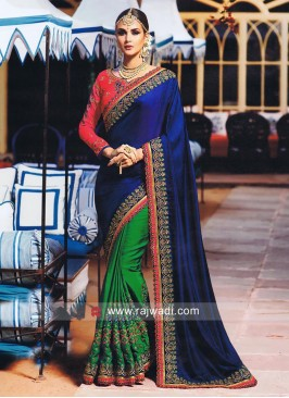 Green and Dark Blue Saree with Contrast Blouse
