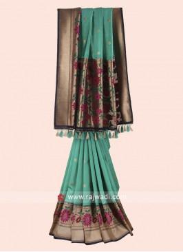Green and Dark Blue Woven Saree