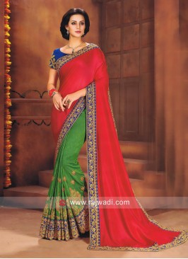 Green and Deep Pink Half Saree with Cutwork Border