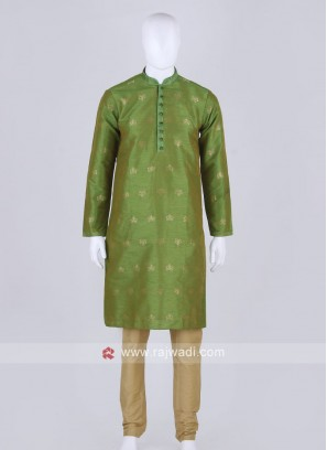 green and golden kurta pajama