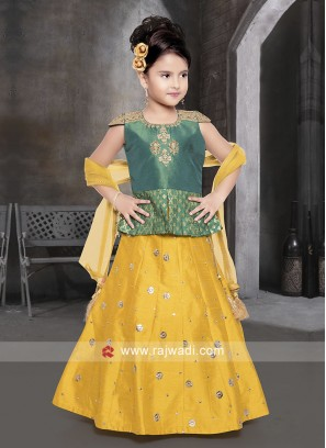 Green and Golden Yellow Choli Suit for Kids