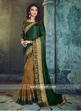 Green and Goldenrod Half n Half Saree