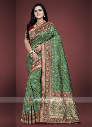Green and Maroon Bandhani Saree with matching blouse.