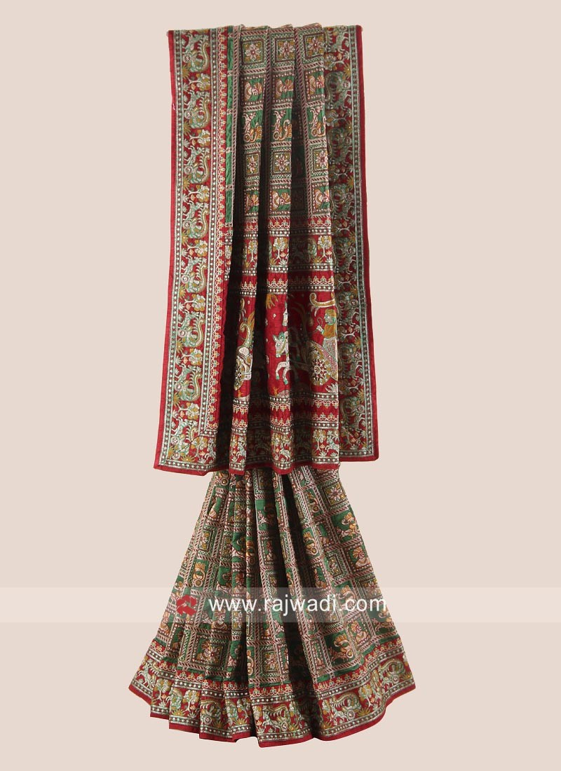 Green and Maroon Bride Gharchola Saree