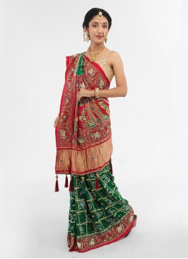 Green And Maroon Color Gajji Silk Gharchola Saree For Bride