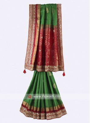Green and maroon color pure silk saree