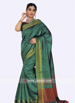 Green and Maroon Designer Saree
