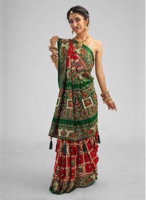 Green And Maroon Gharchola Gajji Silk Saree