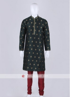 Green and maroon kurta pajama