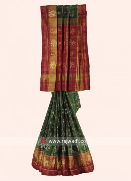 Green and Maroon Patola Saree