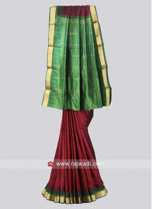 Green and Maroon Pure Silk Saree