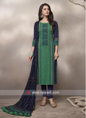 Green and Navy Printed Straight Fit Suit