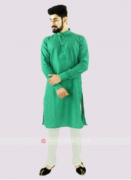 Green And Off White Linen Kurta Set