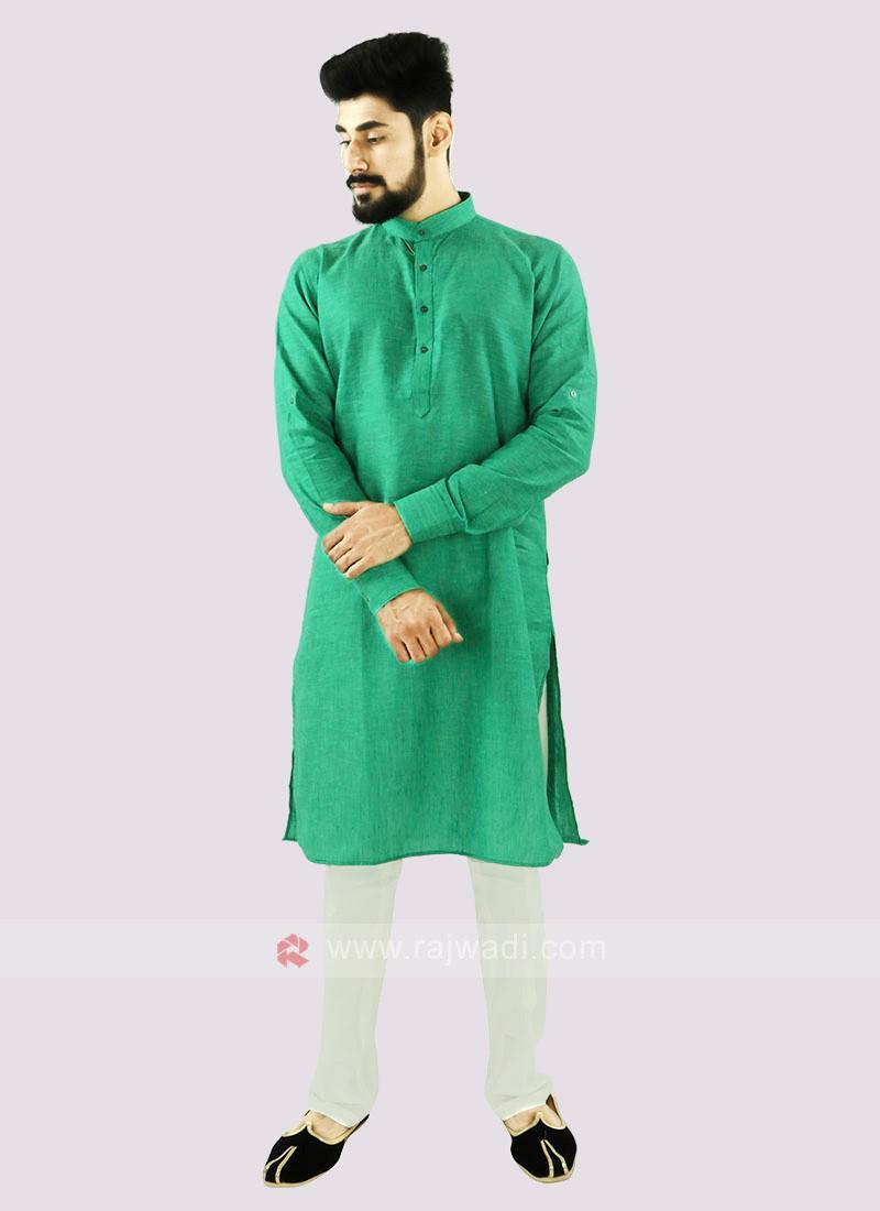 Green And Off White Linen Kurta Set