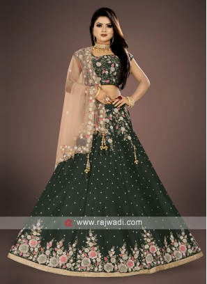 green and peach lehenga choli suit