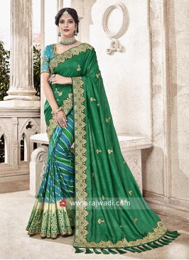 Green and Peacock Blue Half Saree