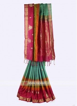 Green and rani color pure silk saree