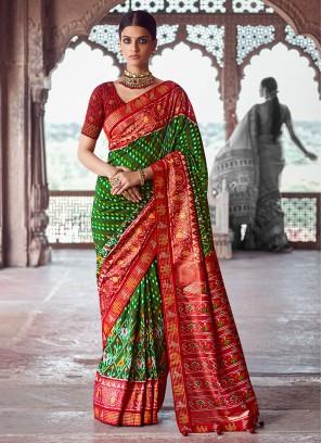 Green And Red Art Dola Silk Saree