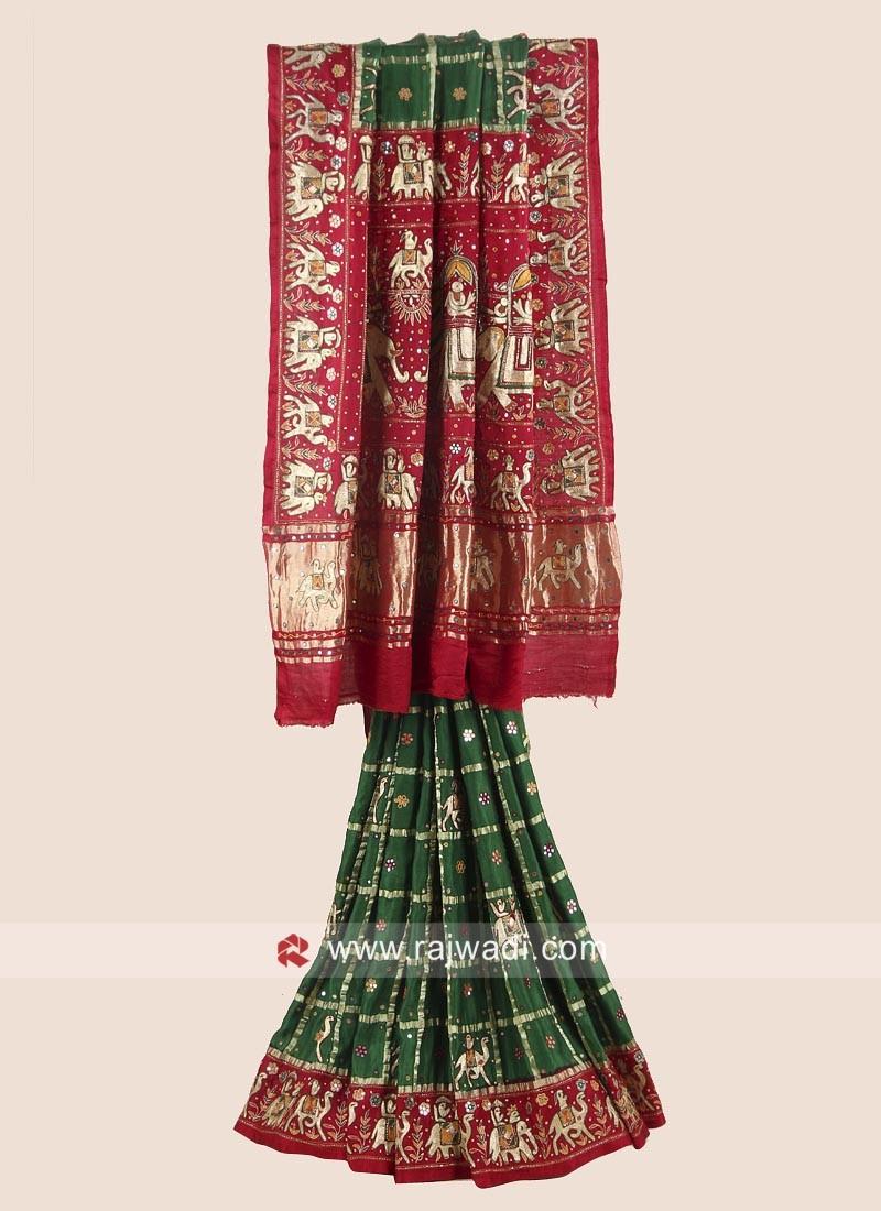 Green and Red Bridal Gharchola Saree