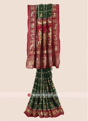 Green and Red Bridal Gharchola Saree