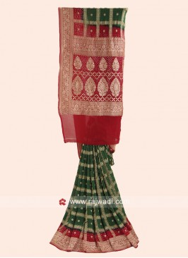 Green and Red Checks Bandhani Saree