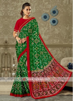 Green and red color pure silk saree