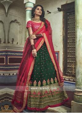Green And Red Lehenga Choli