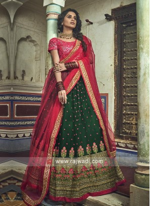 Green And Red Lehenga Choli