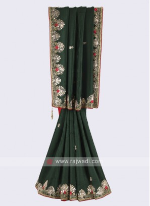 Green and red pure silk saree