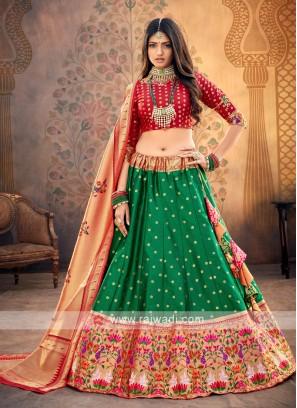 Green And Red Silk Lehenga Choli