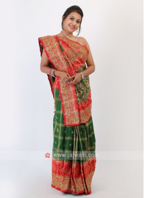 Green And Red Silk Saree