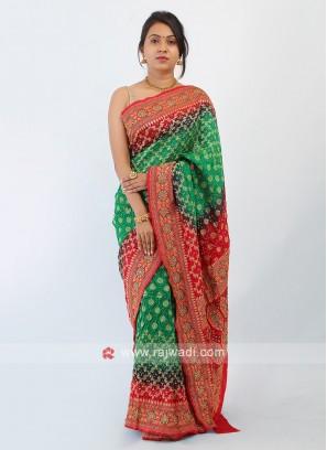Green And Red Bandhani Silk Saree