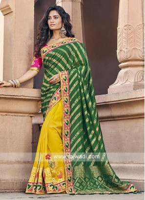 Green and yellow banarasi silk saree with blouse