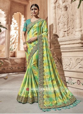 Green and Yellow Checks Saree