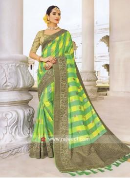 Green and Yellow Checks Wedding Saree